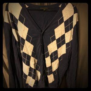 Vintage Navy and Grey Argyle Cardigan Sweater